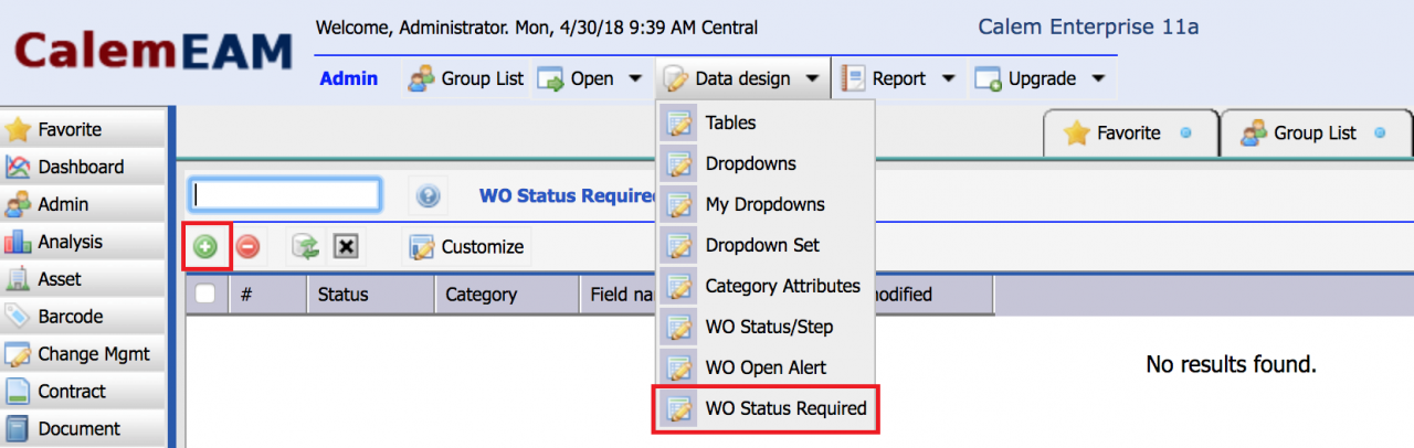 Work Order Required Fields by Status/Category