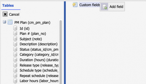 PM Plan Custom Fields for PM and Work Order
